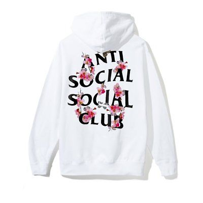 Auth Anti Social Social Club ASSC logo Kkoch White Hoodie flower hoody supreme1 BC19