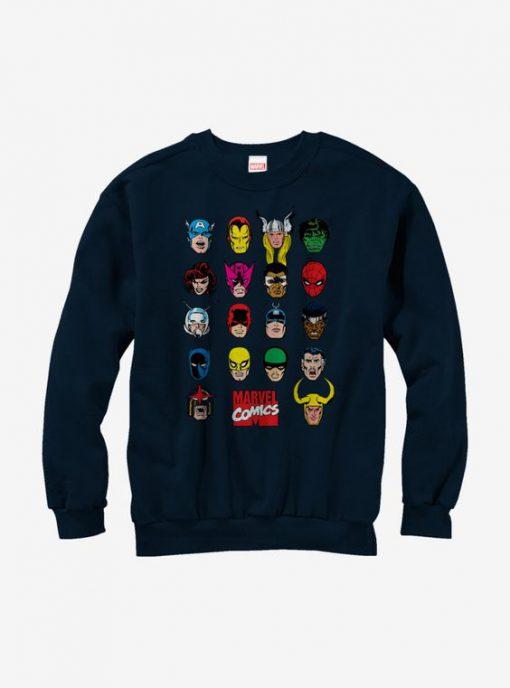 Marvel Comic Book Faces Sweatshirt