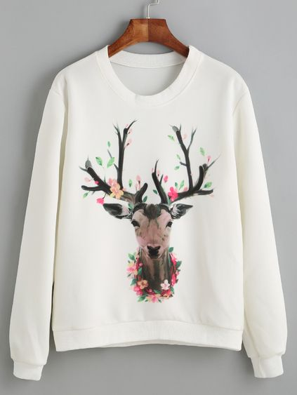 Deer Print Sweatshirt SR01