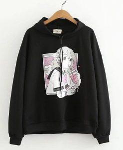 Anime prints black Hoodie AZ01