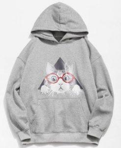 Cat Pattern Print Hoodie EL