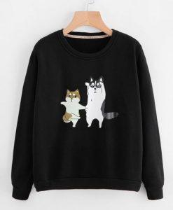 Cute Cartoon Dog Print Black Sweatshirt AZ01