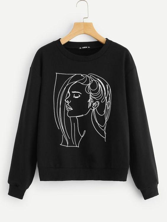 Svart Figur Tillfällig Sweatshirts AZ01