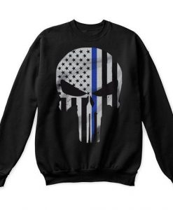 Thin Blue Line Skull Sweatshirt VL01