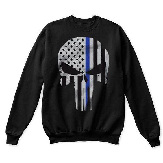 Thin Blue Line Skull Sweatshirt VL01