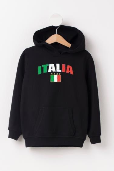 Italia Black Color Hoodie VL2D