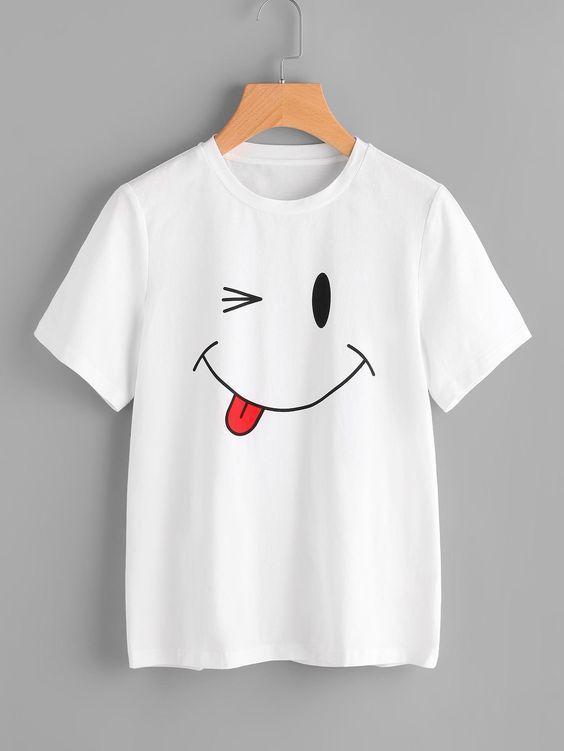 Smile face T-shirt D3AZ