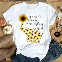 Elephant Sunflower Tshirt LI9M0