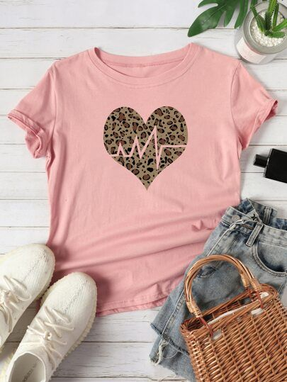 Heart And Leopard T-shirt YN6M0