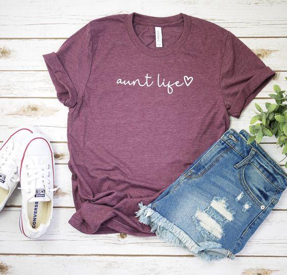 Aunt Life Script T Shirt AF21A0